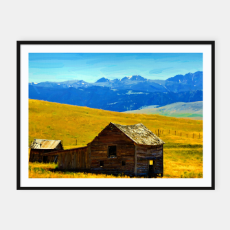 old wooden barn landscape digital oil painting akvop std Framed poster thumbnail image