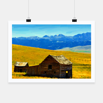 old wooden barn landscape digital oil painting akvop std Poster thumbnail image