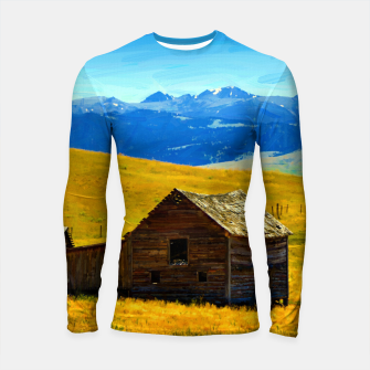old wooden barn landscape digital oil painting akvop std Longsleeve rashguard  thumbnail image