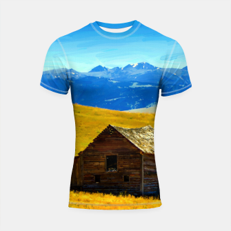 old wooden barn landscape digital oil painting akvop std Shortsleeve rashguard thumbnail image