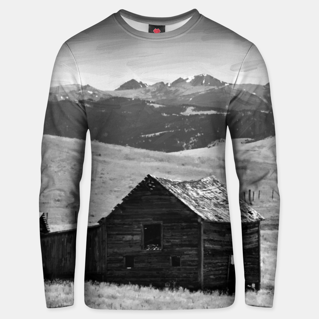 Image of old wooden barn landscape digital oil painting akvop bw Unisex sweater - Live Heroes