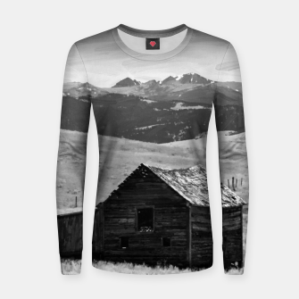 old wooden barn landscape digital oil painting akvop bw Women sweater thumbnail image