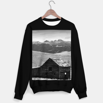 old wooden barn landscape digital oil painting akvop bw Sweater regular thumbnail image