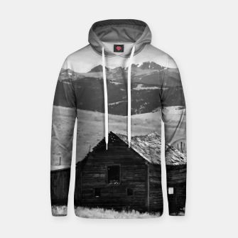 Thumbnail image of old wooden barn landscape digital oil painting akvop bw Hoodie, Live Heroes