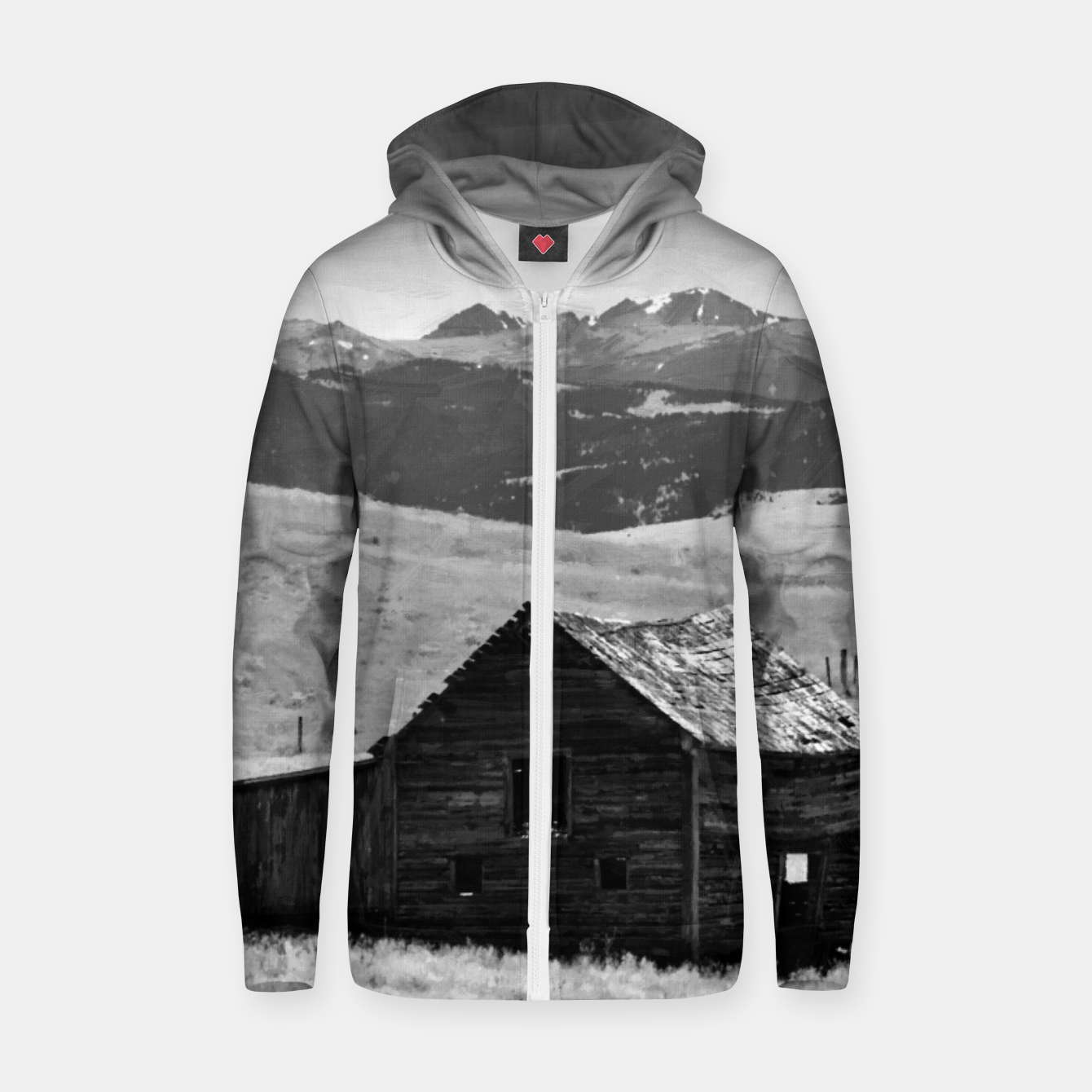Image of old wooden barn landscape digital oil painting akvop bw Zip up hoodie - Live Heroes