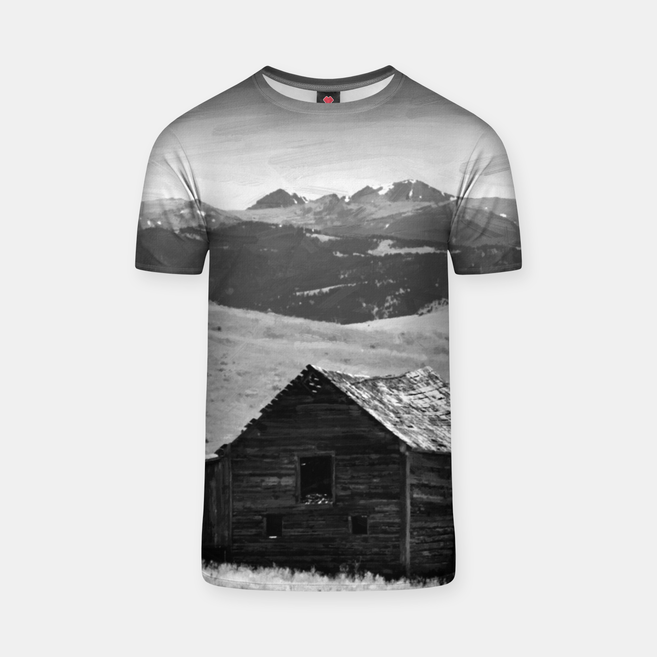 Image of old wooden barn landscape digital oil painting akvop bw T-shirt - Live Heroes