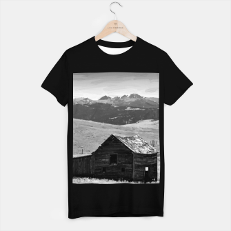 old wooden barn landscape digital oil painting akvop bw T-shirt regular thumbnail image