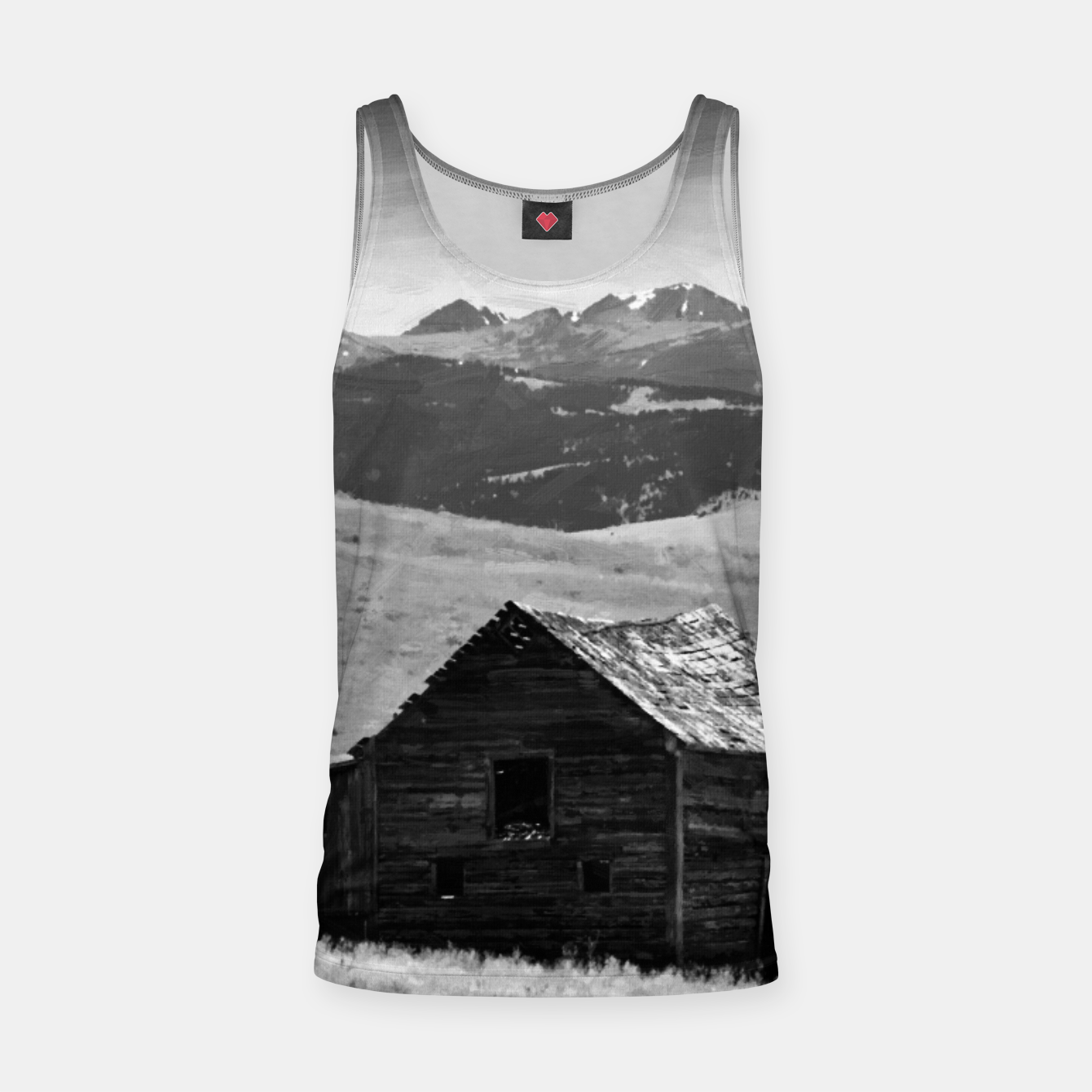 Image of old wooden barn landscape digital oil painting akvop bw Tank Top - Live Heroes