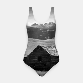 Miniaturka old wooden barn landscape digital oil painting akvop bw Swimsuit, Live Heroes