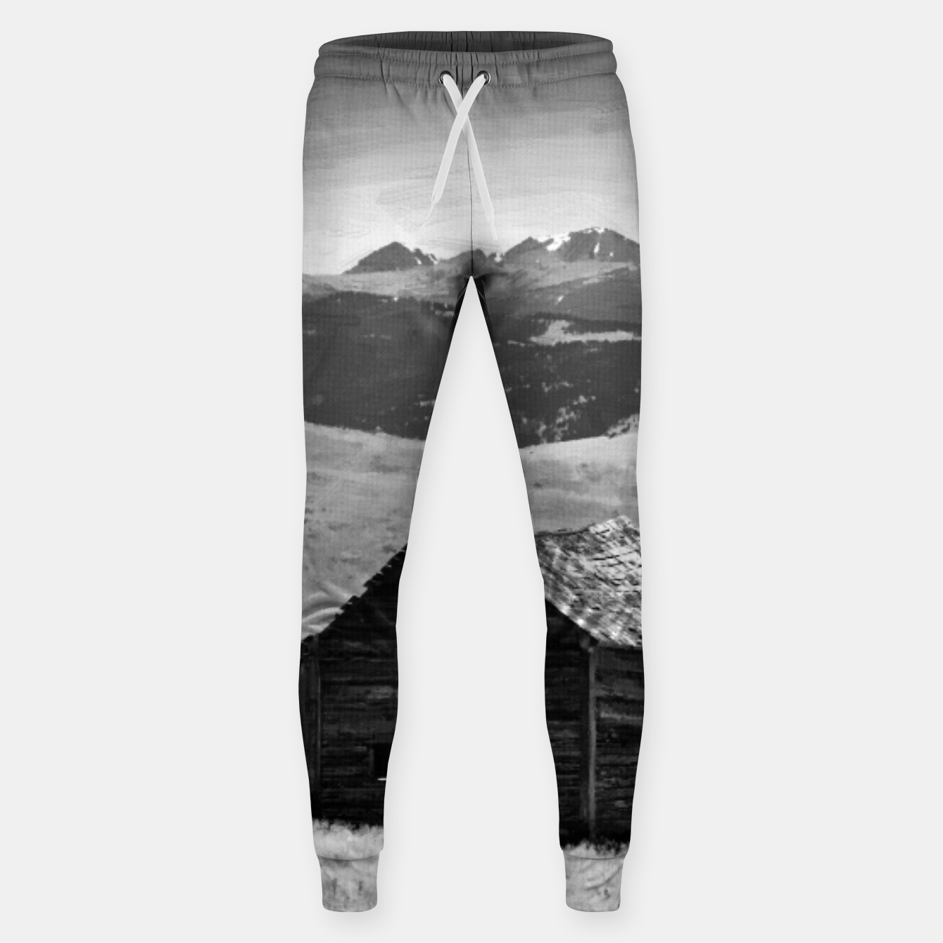Image of old wooden barn landscape digital oil painting akvop bw Sweatpants - Live Heroes