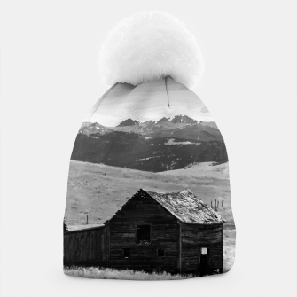 old wooden barn landscape digital oil painting akvop bw Beanie thumbnail image