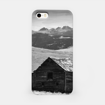 old wooden barn landscape digital oil painting akvop bw iPhone Case thumbnail image