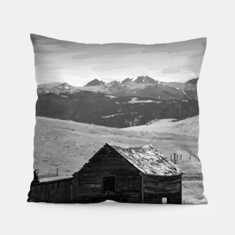 old wooden barn landscape digital oil painting akvop bw Pillow thumbnail image