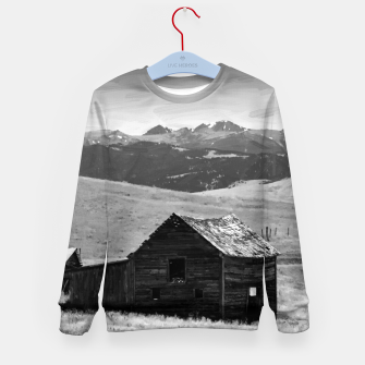 Miniaturka old wooden barn landscape digital oil painting akvop bw Kid's sweater, Live Heroes
