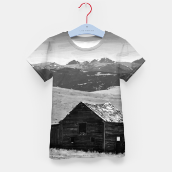 old wooden barn landscape digital oil painting akvop bw Kid's t-shirt thumbnail image