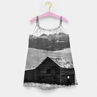 old wooden barn landscape digital oil painting akvop bw Girl's dress thumbnail image