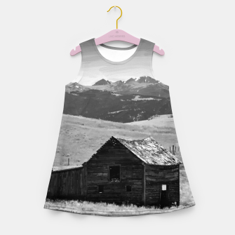 old wooden barn landscape digital oil painting akvop bw Girl's summer dress thumbnail image