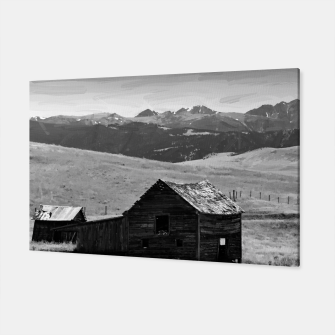 old wooden barn landscape digital oil painting akvop bw Canvas thumbnail image