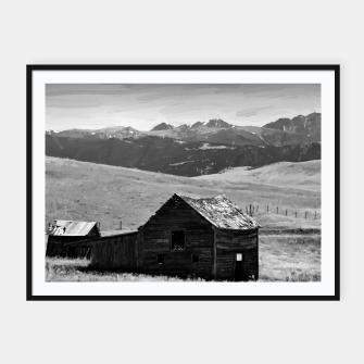 old wooden barn landscape digital oil painting akvop bw Framed poster thumbnail image