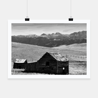 old wooden barn landscape digital oil painting akvop bw Poster thumbnail image