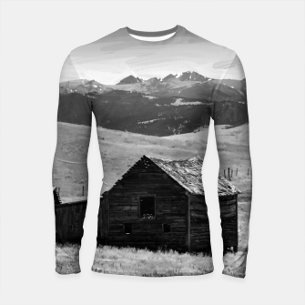 Thumbnail image of old wooden barn landscape digital oil painting akvop bw Longsleeve rashguard , Live Heroes