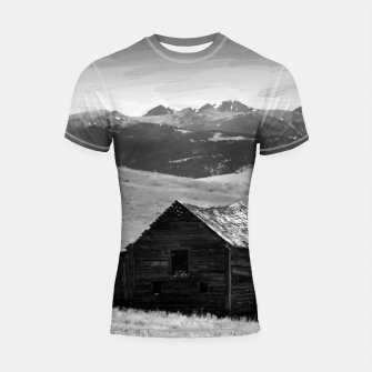 old wooden barn landscape digital oil painting akvop bw Shortsleeve rashguard thumbnail image
