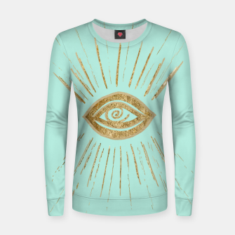 Evil Eye Gold on Mint #1 #drawing #decor #art  Frauen sweatshirt thumbnail image