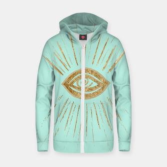 Evil Eye Gold on Mint #1 #drawing #decor #art  Reißverschluss kapuzenpullover thumbnail image