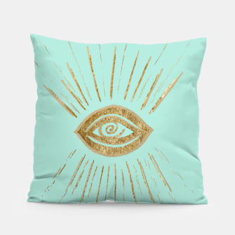 Evil Eye Gold on Mint #1 #drawing #decor #art  Kissen thumbnail image