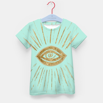Evil Eye Gold on Mint #1 #drawing #decor #art  T-Shirt für kinder thumbnail image