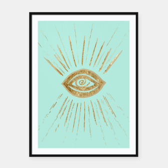 Evil Eye Gold on Mint #1 #drawing #decor #art  Plakat mit rahmen thumbnail image
