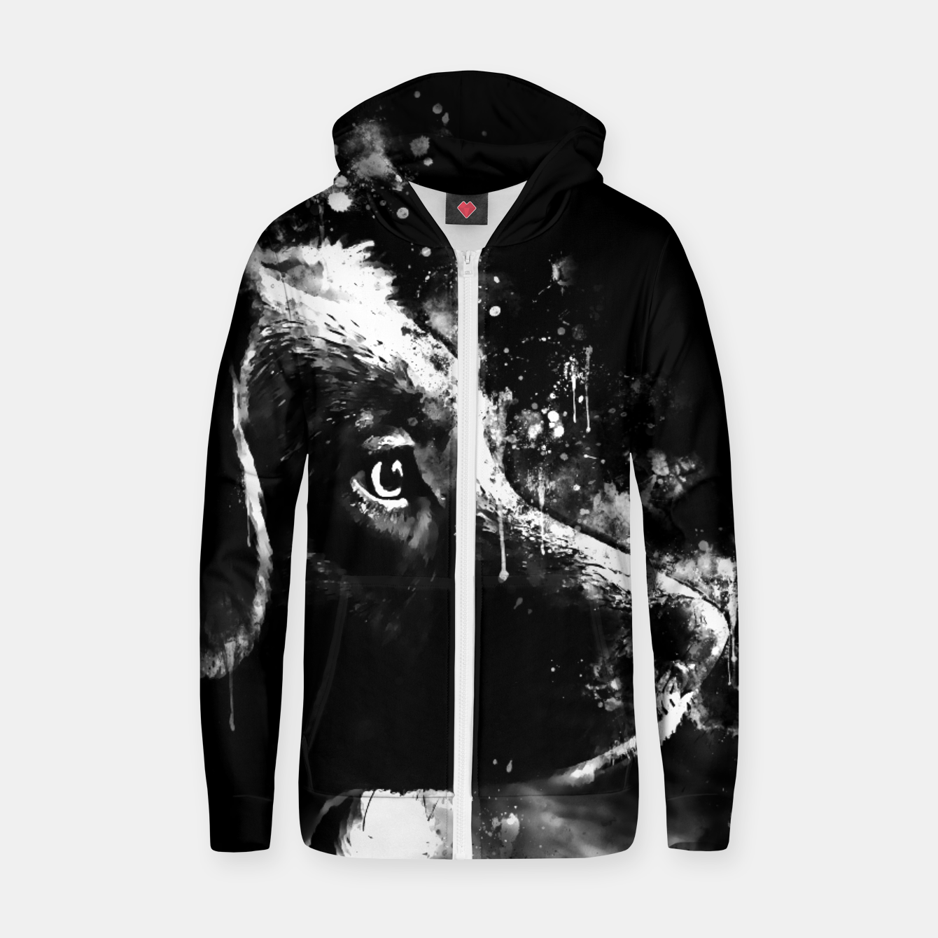 Image of retriever dog ws bw Zip up hoodie - Live Heroes