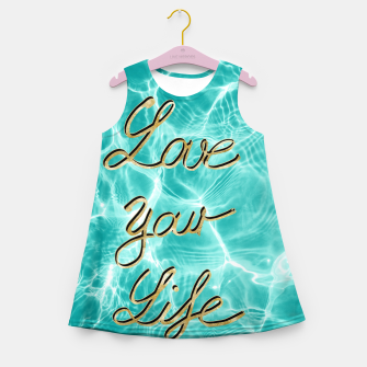 Love Your Life - Pool Dream #1 Edition #typo #decor #art Mädchen-Sommerkleid thumbnail image