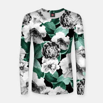 Black and White Floral Garden Glamor #3 #floral #decor #art Frauen sweatshirt thumbnail image