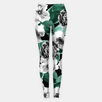 Black and White Floral Garden Glamor #3 #floral #decor #art Leggings thumbnail image