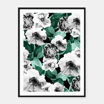 Black and White Floral Garden Glamor #3 #floral #decor #art Plakat mit rahmen thumbnail image