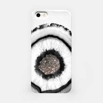 White Agate with Silver Glitter Glam #1 #gem #decor #art iPhone-Hülle thumbnail image