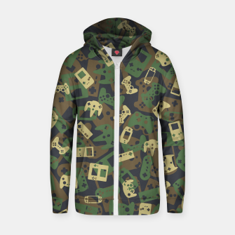 Thumbnail image of Gamer Camo WOODLAND Zip up hoodie, Live Heroes