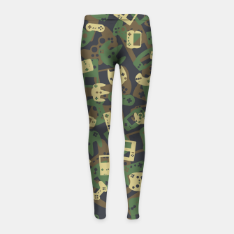 Thumbnail image of Gamer Camo WOODLAND Girl's leggings, Live Heroes