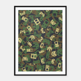 Thumbnail image of Gamer Camo WOODLAND Framed poster, Live Heroes