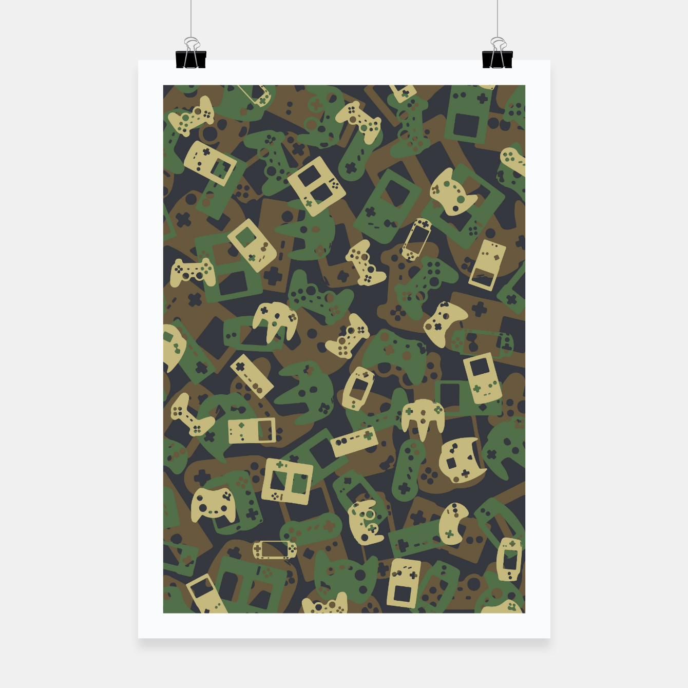Image of Gamer Camo WOODLAND Poster - Live Heroes