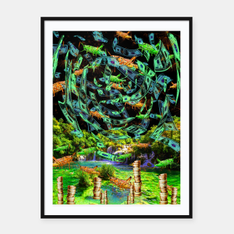 Hoppin' Money (lucky, green, grasshoopers) Framed poster thumbnail image