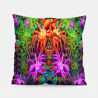 Thumbnail image of Radioactive Creepy Crawlies (spiders, halloween, toxic) Pillow, Live Heroes