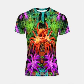 Thumbnail image of Radioactive Creepy Crawlies (spiders, halloween, toxic) Shortsleeve rashguard, Live Heroes
