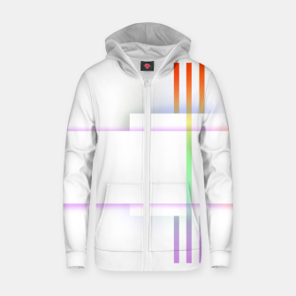 Thumbnail image of Minimal geometric white Zip up hoodie, Live Heroes
