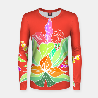 Thumbnail image of Colourful floral illustration on popcolors Women sweater, Live Heroes