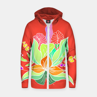 Thumbnail image of Colourful floral illustration on popcolors Zip up hoodie, Live Heroes