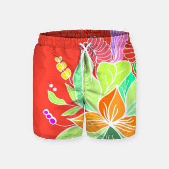 Thumbnail image of Colourful floral illustration on popcolors Swim Shorts, Live Heroes