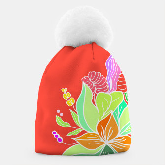 Thumbnail image of Colourful floral illustration on popcolors Beanie, Live Heroes