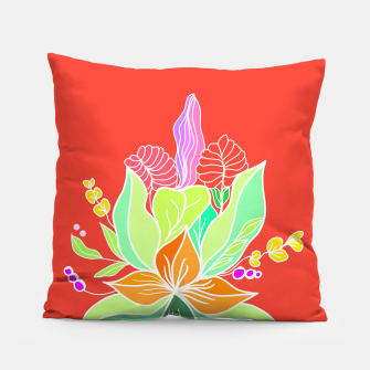 Thumbnail image of Colourful floral illustration on popcolors Pillow, Live Heroes